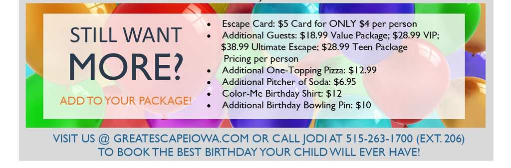 Teen Birthday Parties Party Ideas Great Escape Des